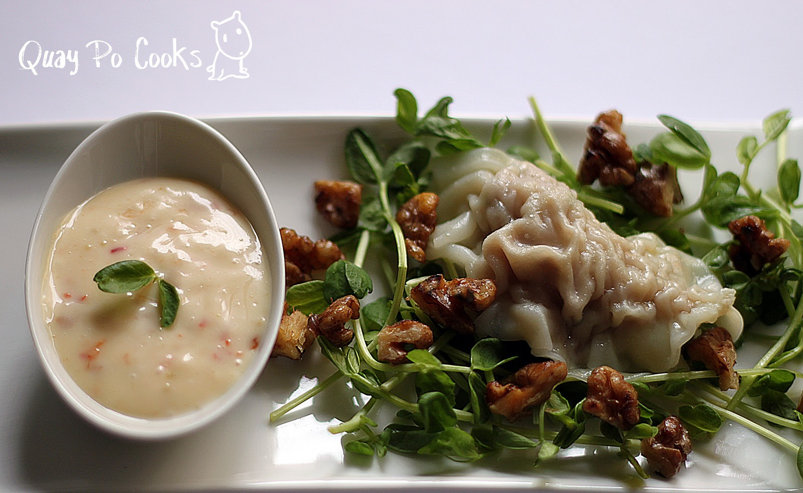 Sui Kow (Dumplings) with QPC wasabi mayo red pepper sauce - Featured ...