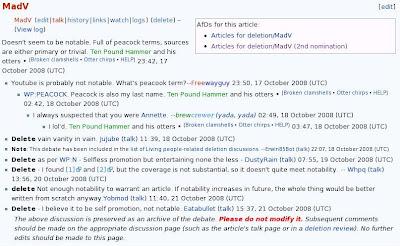 Gambar menunjukkan pendapat-pendapat yang menyatakan artikel bersangkutan sebaiknya dihapus