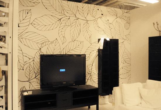 black wallpaper room. Ikea#39;s show room