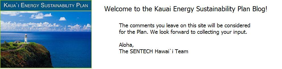 Welcome to the Kauai Energy Sustainability Plan blog!