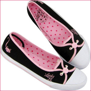 Lucky 13 Clothing - Cutesy Black and Pink Purrlicious Sneaker Flats with Lucky 13 Logo and Kitty Cat Embroidery