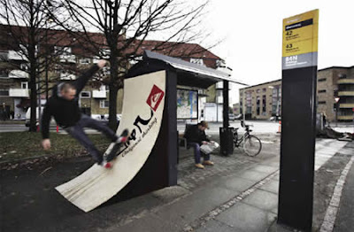 This bus stop allows skaters to go on a mini ramp attached to a bus stop, it's a Quiksilver ad