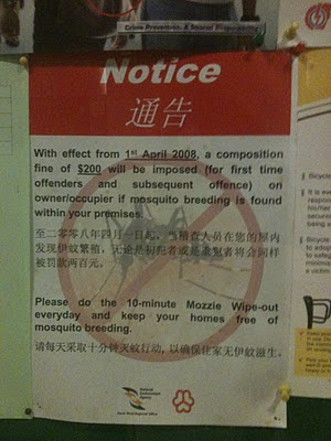 Getting Fined for Mosquitoes Breeding in Singapore ?