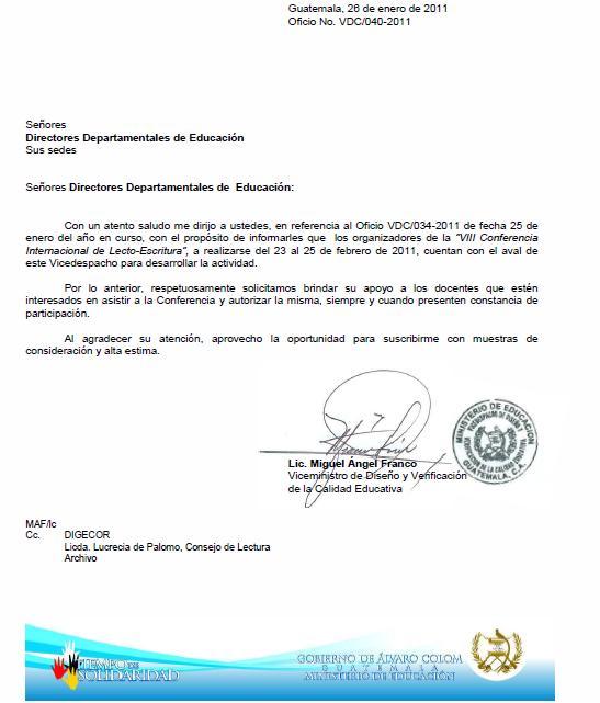 CARTA DE PERMISO PARA LA VIII CONFERENCIA INTERNACIONAL DE LECTURA Y ...