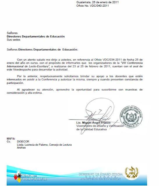 CARTA DE PERMISO PARA LA VIII CONFERENCIA INTERNACIONAL DE LECTURA Y
