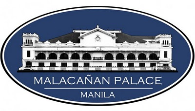 The 2011-version Malacañang signage, with the noticeable arched balcony, Malacañang Palace Got a New look Logo as of 2011, Palace unveils 2011 Malacañang Logo