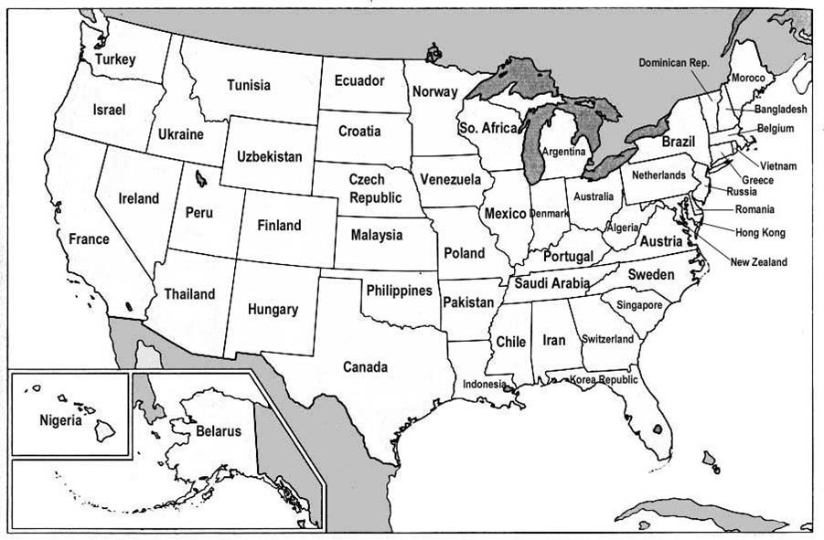 map of usa with states and cities. The map shows the 50