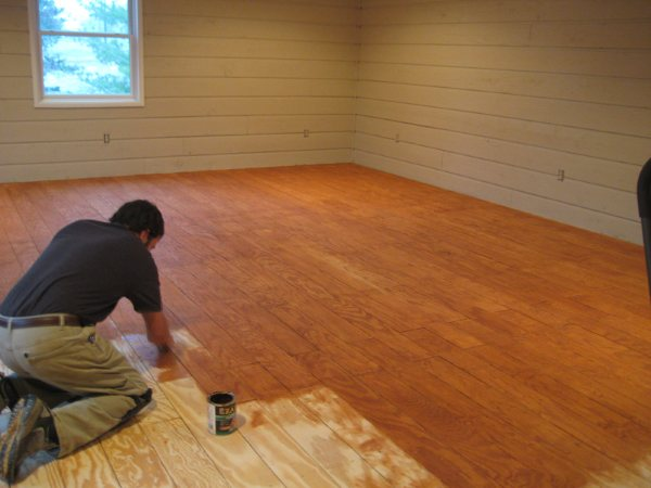 Diy plank flooring on the cheap with quarry orchard for Affordable basement flooring