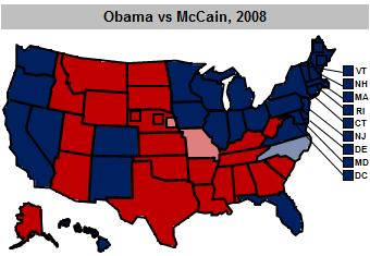 Electoral Map on 6 November 2008