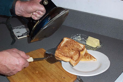 Grilled cheese sandwich made with a steam iron
