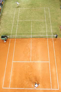 A customized half-clay, half-grass court