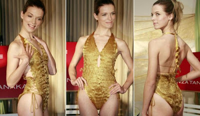 Gold-thread-woven swimsuits