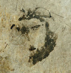 Face of Jesus Christ on the concrete floor