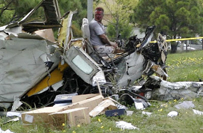 Bob Robertson in the plane wreck
