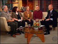 Melody Kloska and Matt Behr, left, and Lynette and Fred Dubendorf, with Harry Smith, far right, on The Early Show
