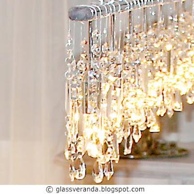 Prosjekt Moderne selvkomponert krystall-lysekrone, fire lamper blir til én, før - etter bilder