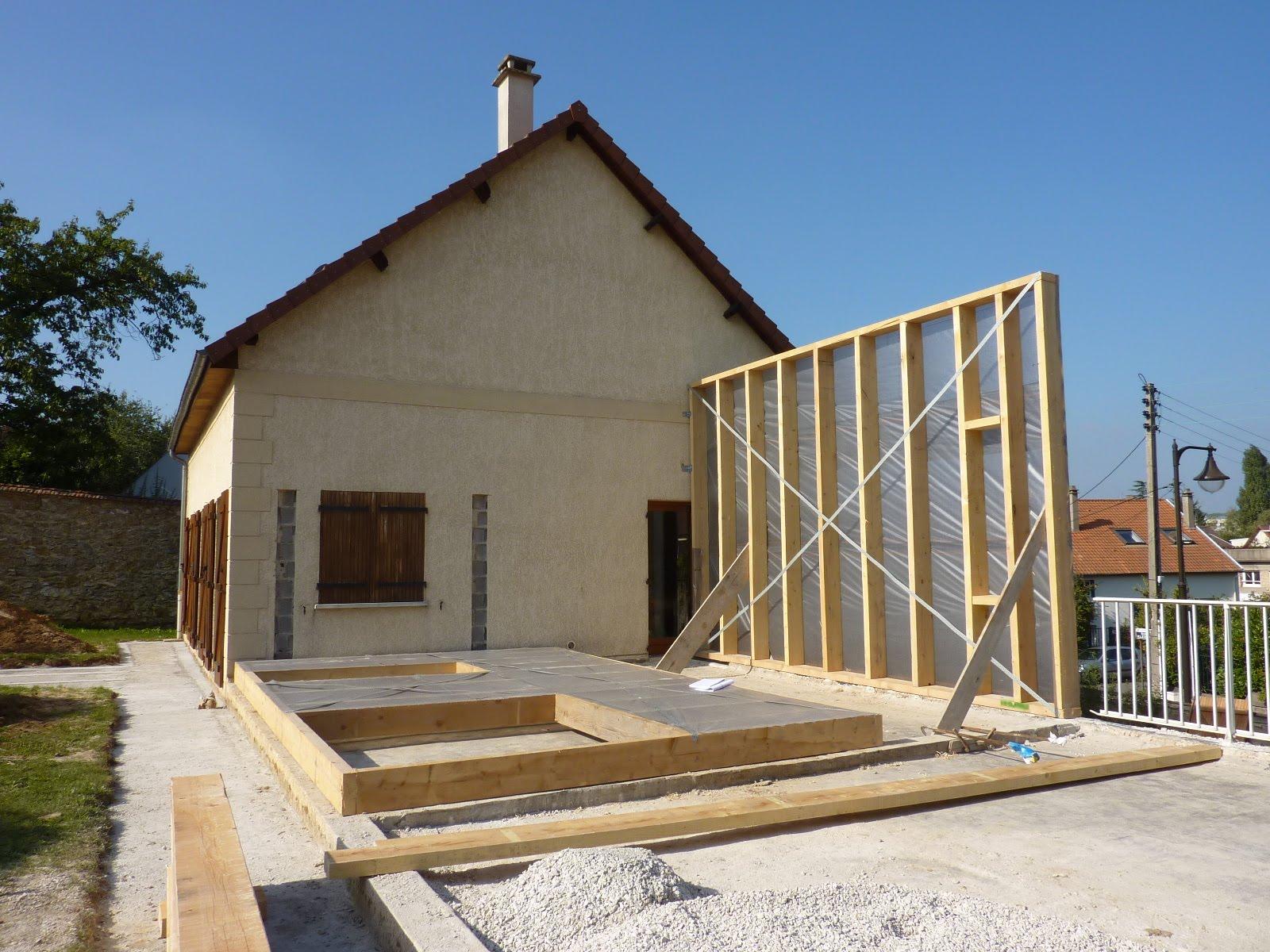 Chantier extension bois le chesnay semaine 3 for Architecte extension bois