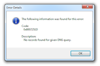 No records found for given DNS query