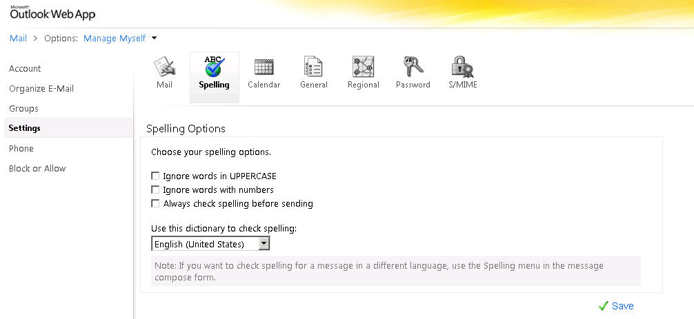 how to change spell check language in outlook 2010
