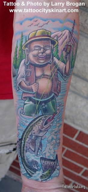 Funny Laughing Buddha Tattoo. Creativity with Toilet Seat.