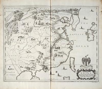 Карта Китая из книги Атанасиуса Кирхера China Illustrata