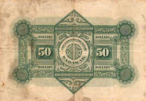 1929 Sarawak Banknote - 50 Dollars