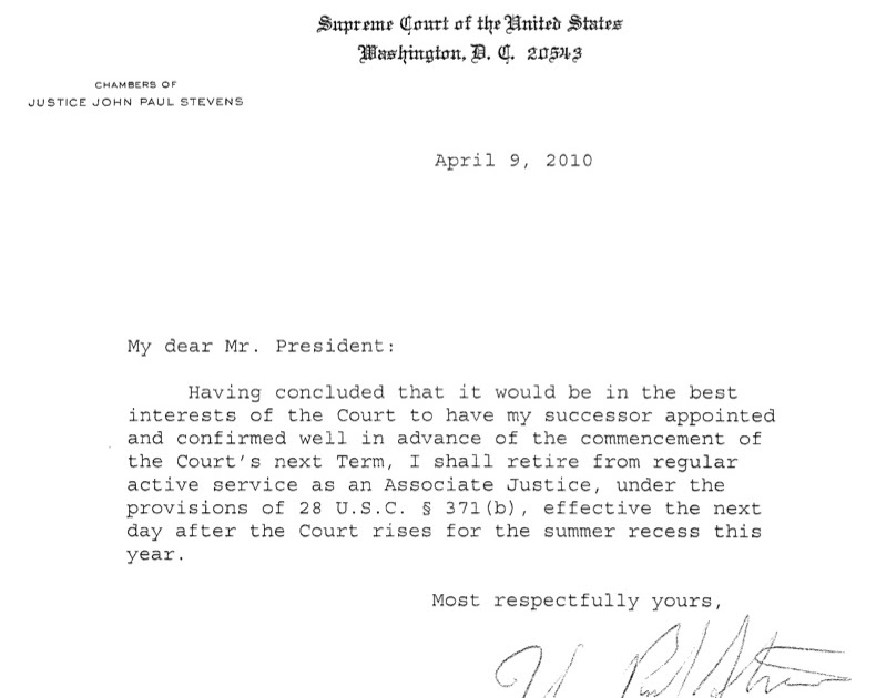 Southern California Appellate News: Justice Steven'S Retirement Letter