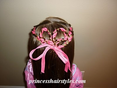heart hairstyle with ribbons