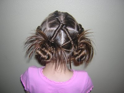 braided buns with ribbons