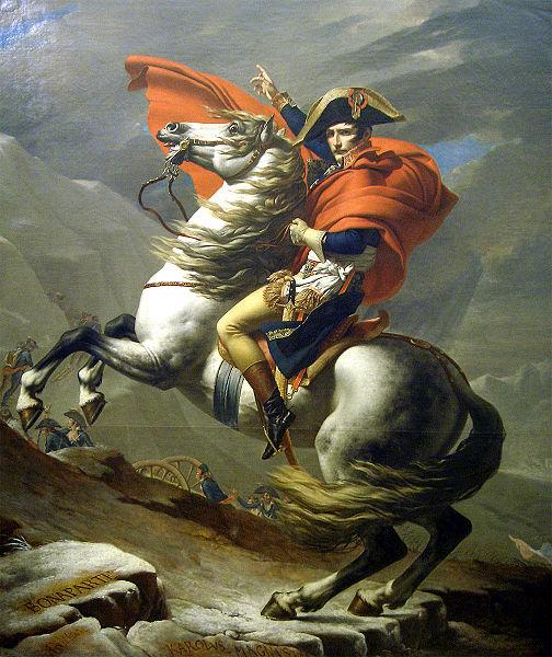 "Lukisan terkenal ""NapoleonMelintasi Alpen"" karya Jacques-Louis"