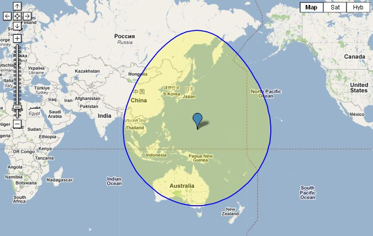 distance between guam and hawaii and finally this circle shows how much of the planet is as near to guam as guam is to the us west coast
