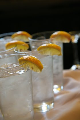 Lemon wedges on water glasses at wedding party in Scoozi restaurant
