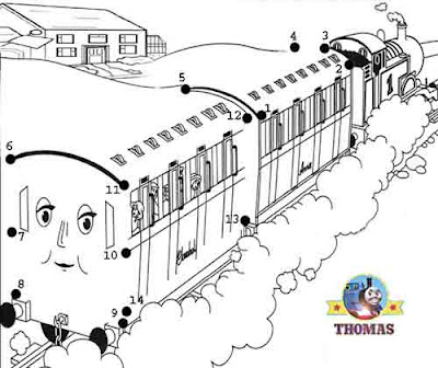 Steam railway coachers Annie and Clarabel Thomas tank games free online dot to dot for kids to play