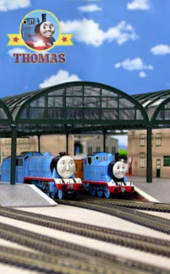 Big blue express Gordon the tank engine takes a Shortcut from the deluxe Knapford station platform