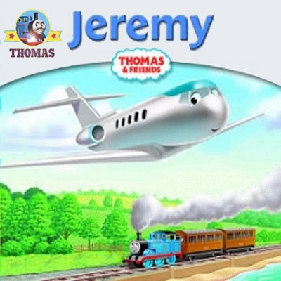 Jeremy jet plane is flying over Thomas and the trees