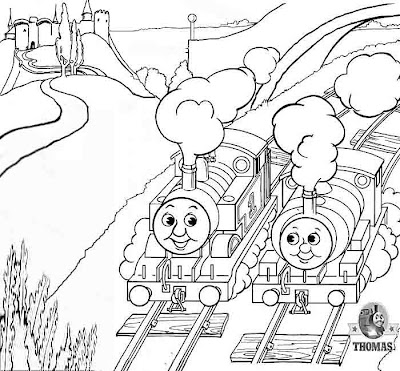 The train engine Percy and Thomas looking at the castle on the hill coloring pages for fun n games