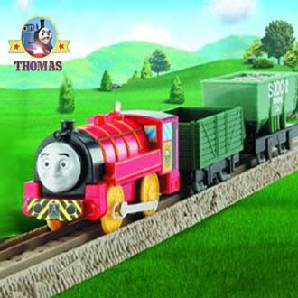 Toy Tomy Thomas Trackmaster Victor Train set with the railway yard trucks shunting along the track