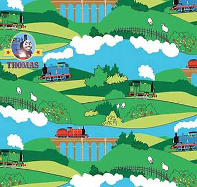 Delightful train fabric featuring James and Percy along with Sodor railway bridges and blue sky