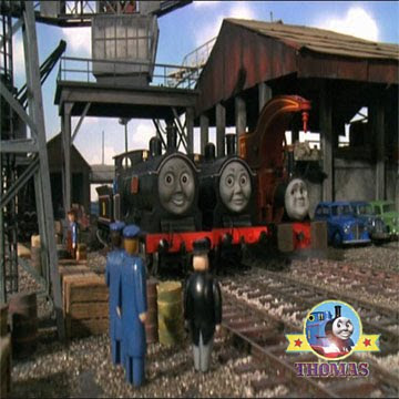 Bad day at castle loch Donald and Douglass tank engine with The Fat Controller at docks of Sodor Bay