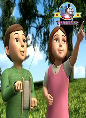 Stephen and Bridget Sir Topham Hatts young grandchildren at the Island of Sodor Festival of Kites