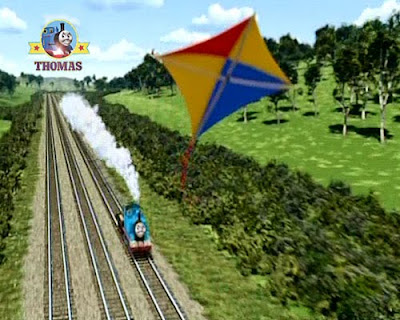 Tank Thomas & the Runaway Kite movie with Thomas going quickly races after the colorful kite toy