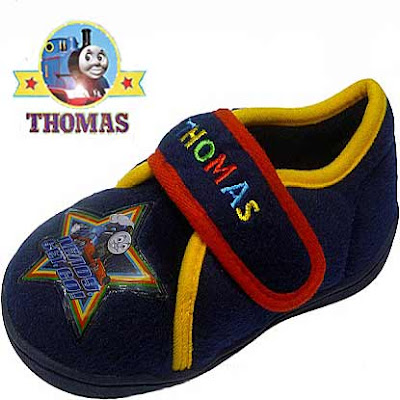 Blue comfortable bedroom slippers Thomas the train shoes of Kindergarten with a Sodor star logo