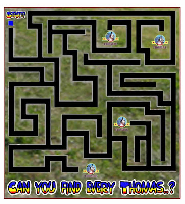 Free pre school printable Thomas tank maze game online for kids activities puzzle learning fun