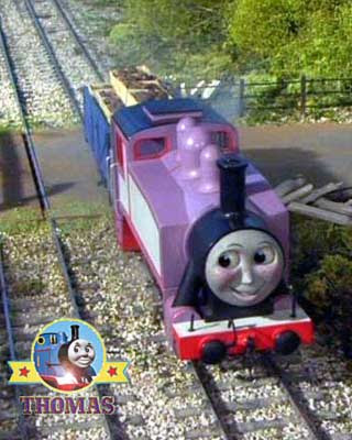 Happy smiling freckle face Rosie train is going to Sodor bay bridge festival funfair to find Emily