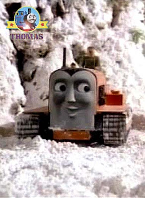 Terence the tractor has caterpillar wheels with iron man grip to drag Thomas out a deep show drifted.