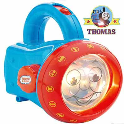Thomas torch light projector an outline image of Thomas the train against a room door or ceiling