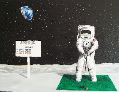 spaceman neil armstrong Golfing on the moon