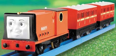 Thomas the tank engine Rusty the diesel first came to Sodor railway helping Peter Sam and Sir Handel