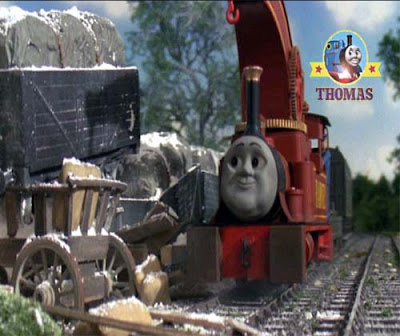 Steam train Harvey the crane engine arrived to fix the Sodor railway trucks at the windmill tower