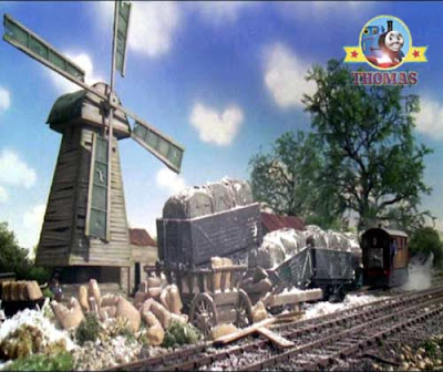 Thomas and friends Tram engine Toby and the Windmill collecting flour trucks for the town market
